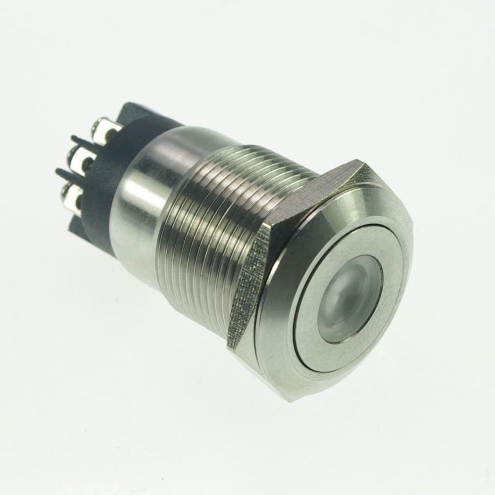 19mm Stainless Steel Dot illuminated Momentary Push Button Switch 1NO 1NC Screw