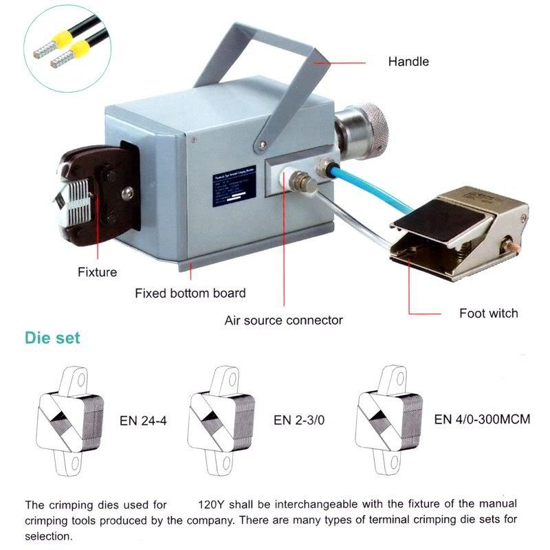 Pneumatic Terminal Crimping Machine 0.08-120mm2 EN24-4 EN2-3/0 EN4/0-300CM NIB