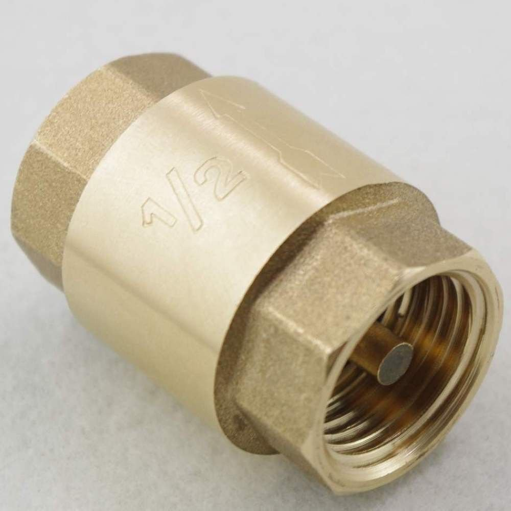 "1PCS Brass 1/2"" Female BSPP Thread In-Line Check Valve Spring Vertical"