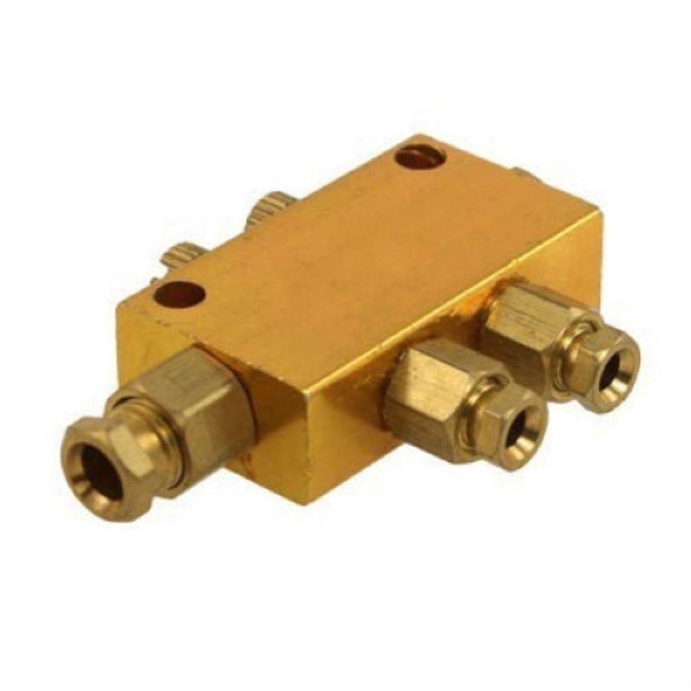 Brass 2 Ways Adjustable Oil Distributor Valve Manifold Block 6mm inlet 4mm out