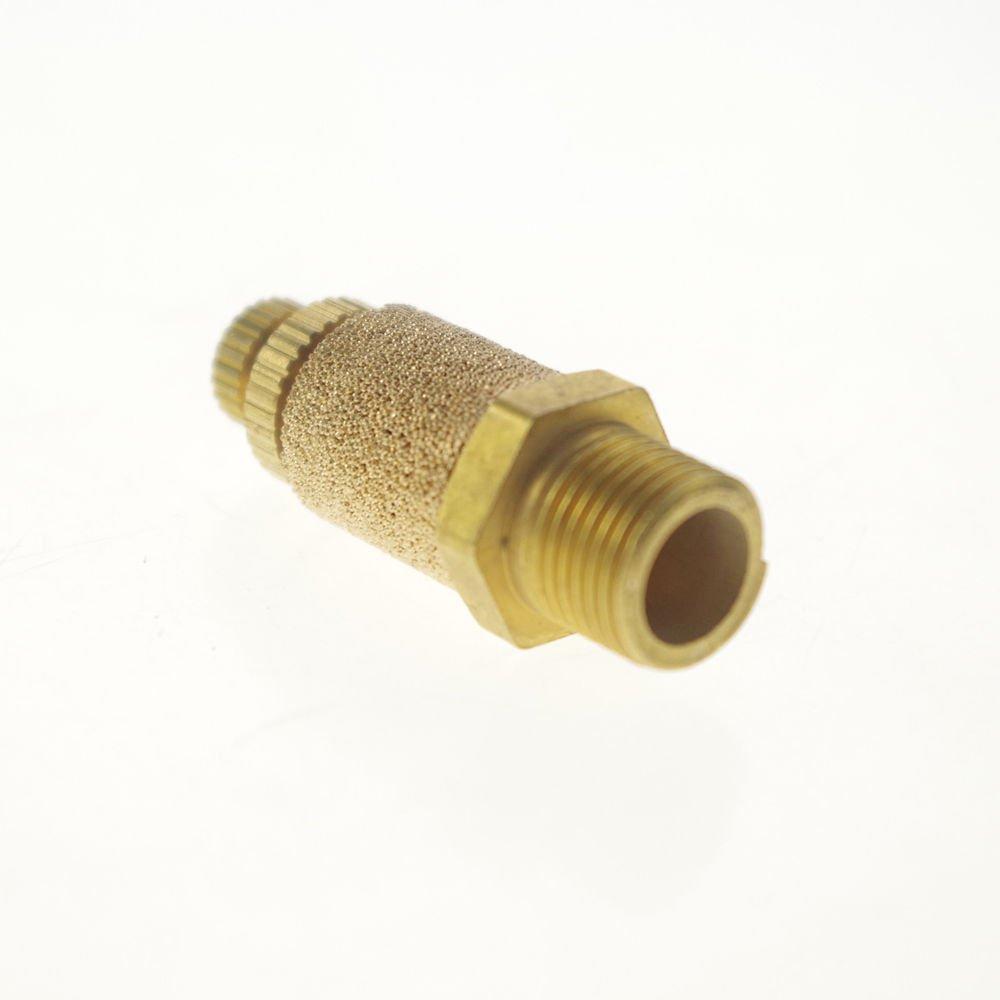 """Lot5 Adjustable 1/2"""" BSPT Male Thread Cylinder Pneumatic Brass Muffler Silencer"""