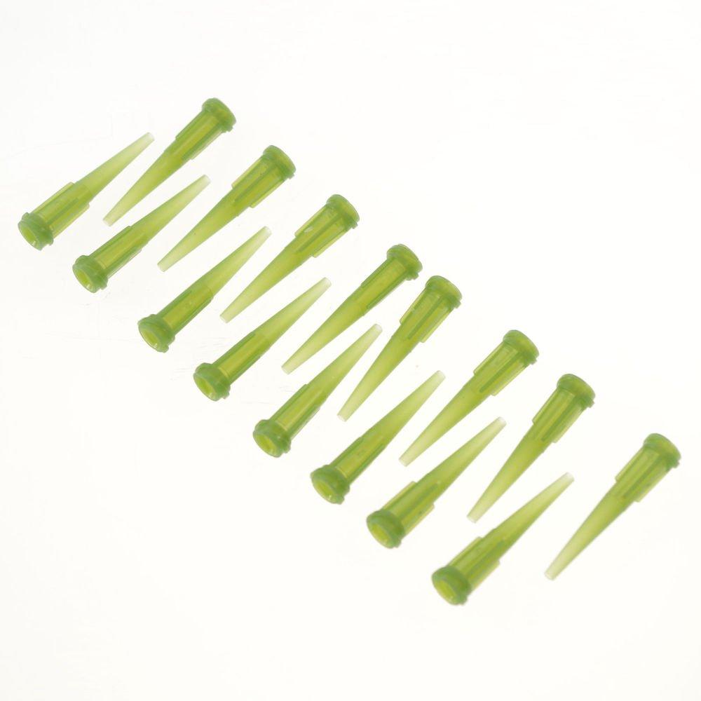 100/pk Plastic Dispenser Needle Olive green Tapered Tip 1.8 mm(OD) 1.6 mm(ID)