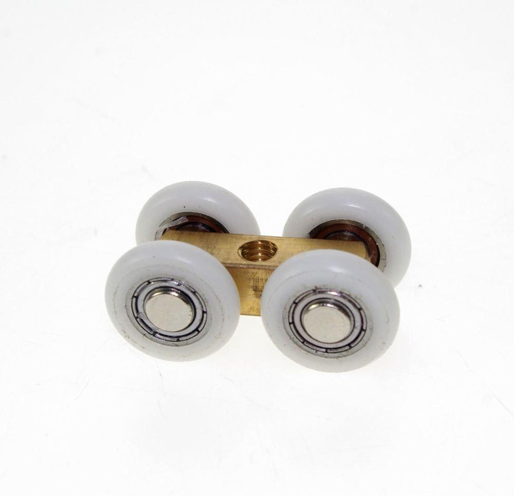 23mm Diameter  Wheels Pulley Brass Shower Room Door Roller Runner M6