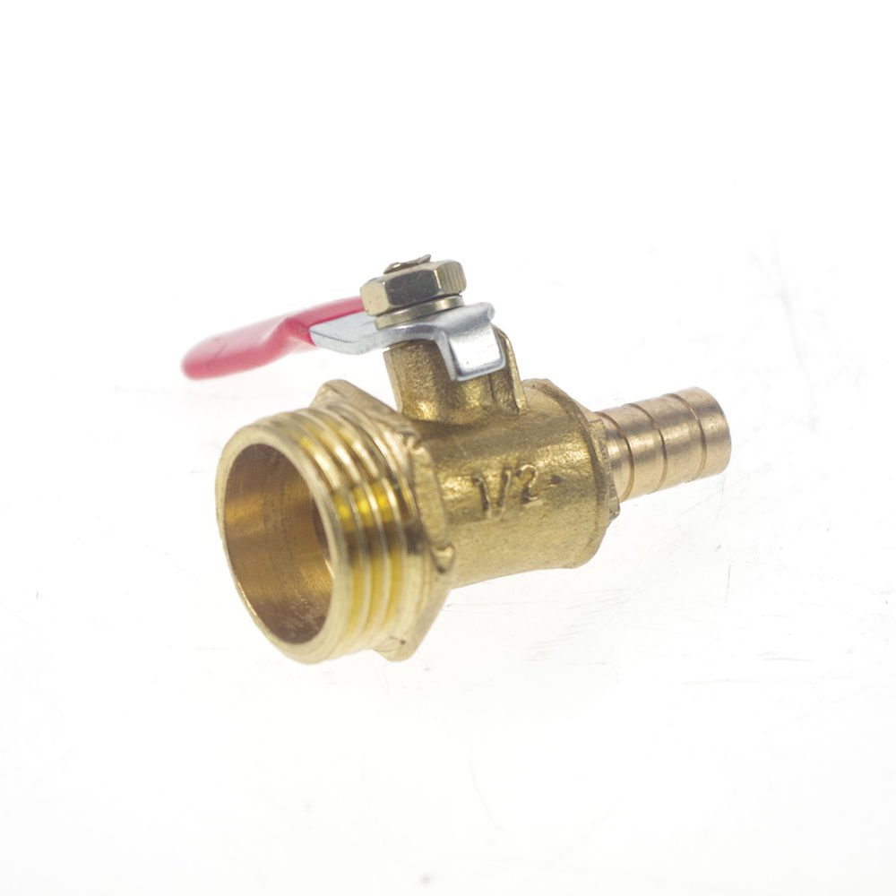 """8mm Hose barbed x 1/2"""" BSPP Connection Male Air Flow Brass Ball Valve"""