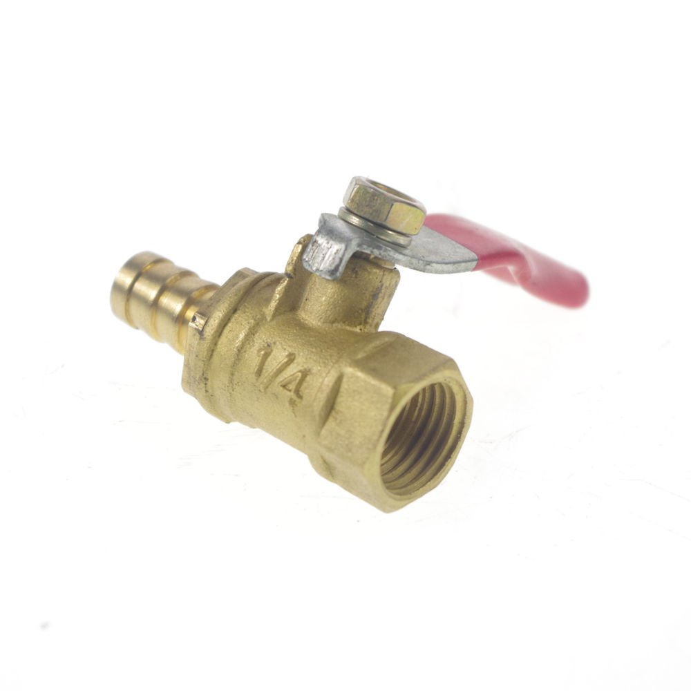 """1/4"""" BSPP Connection Female x 8mm Hose barbed Air Brass Pipe Ball Valve"""