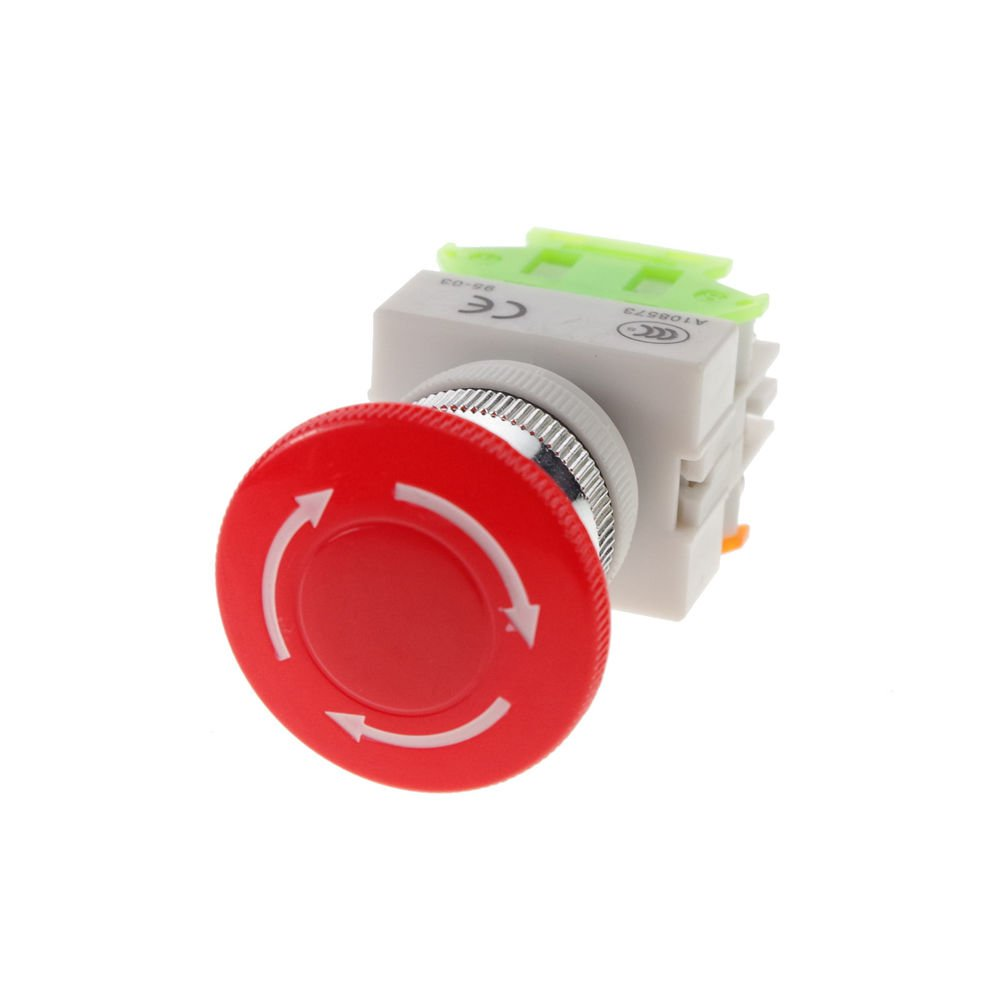 5PCS 10A CNC Red Rotary Emergency Stop Mushroom Pushbutton Switch
