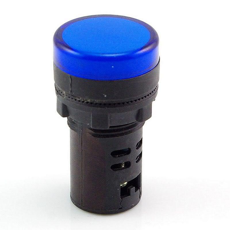 Blue LED Power Indicator Signal Light 220VAC 22mm Diameter  50mm Height