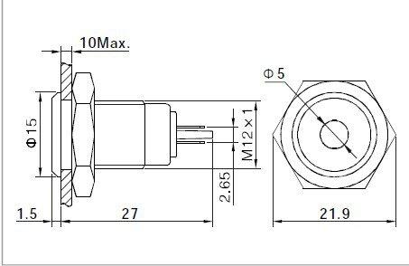 2PCS 12mm 6V Red Metal dot Indicator LED Light  High Strength Damage Resistance