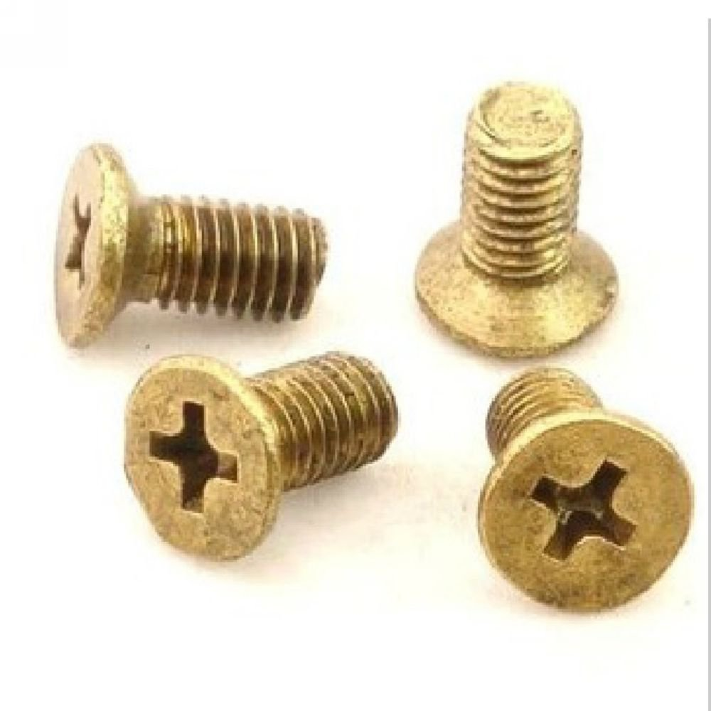 (50) Metric Thread M6*10mm Brass Countersunk Head Phillips Screws