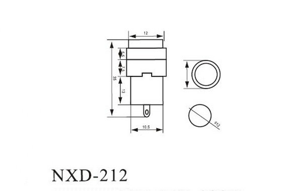 (2)NXD-212 Signal Lamp Round 2 Pins Red 220V 12mm Mounting Hole Indicator Light