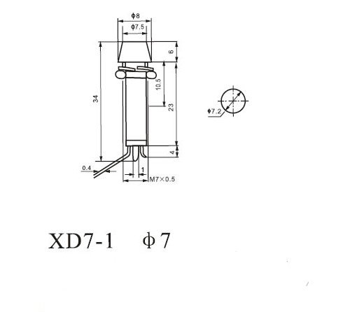 2PCS Signal Lamp 7mm Mounting Hole Round XD7-1 Indicator Light 2 Pins Green 220V