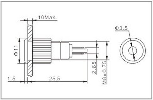 2PCS 8mm OD 6V Green  Metal Indicator LED Signal Light Water Proof IP67