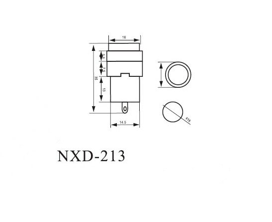 (2)NXD-213 Round Indicator Light 2 Pins Red 220V Signal Lamp 16mm Mounting Hole