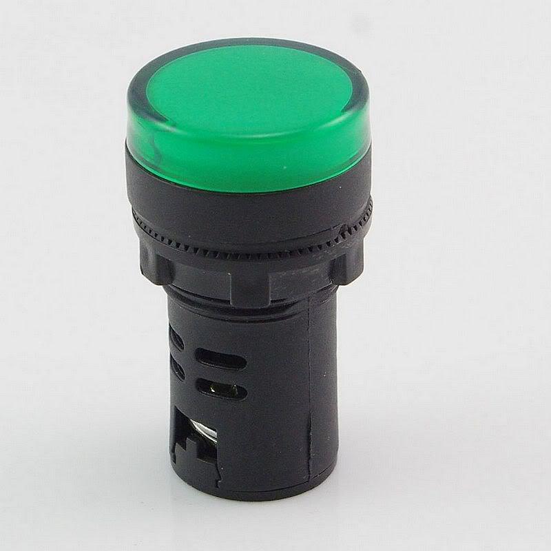 Green LED Power Indicator Signal Light 220VAC 50mm Height 20mm Diameter