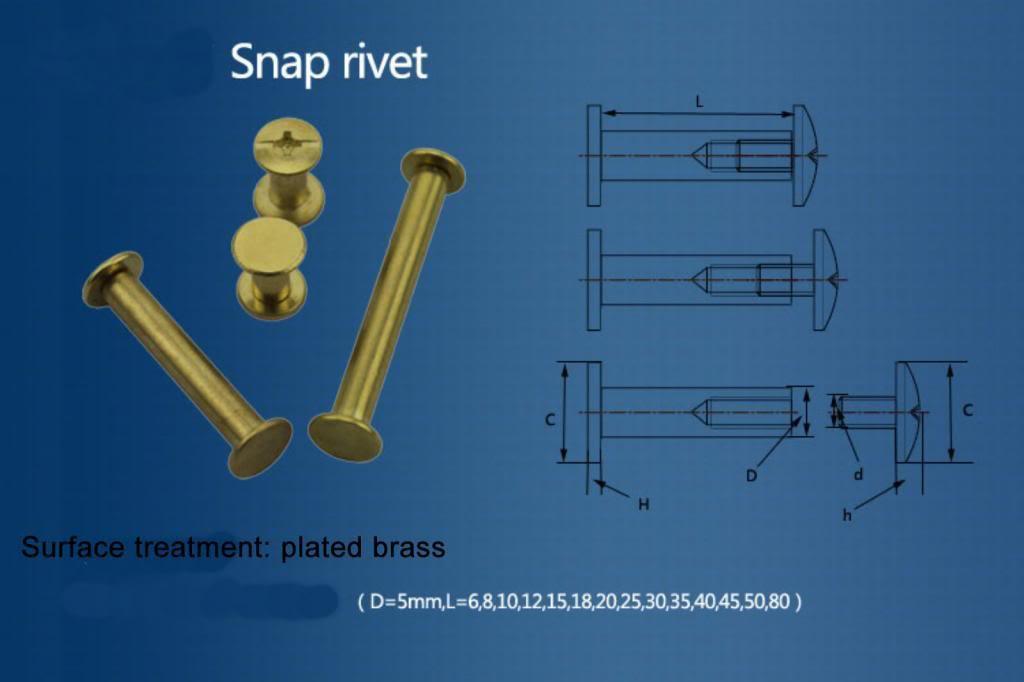 20PCS Metric 5*50 mm Plated brass photo album screw snap rivet books screw