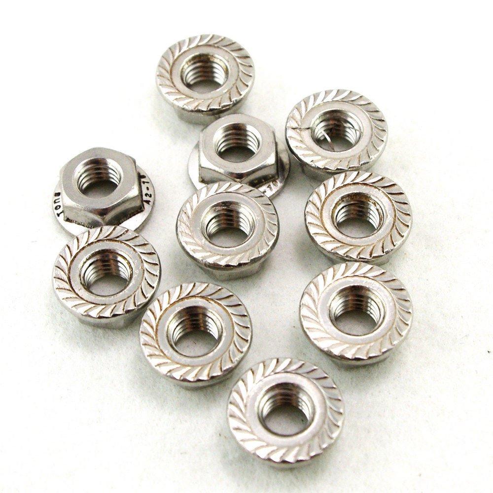 (50) Metric M8 304 Stainless Steel Hex Head Serrated Spinlock Flange Nuts