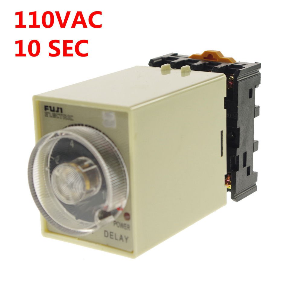 1PCS 1A 110VAC Power off delay time relay 0-10 seconds with Socket base PF083A