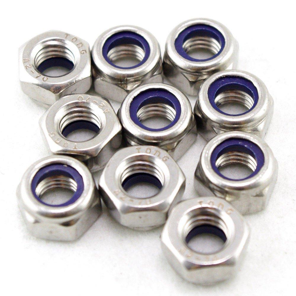 �50� Metric M8 304 Stainless Steel Hex Head Nylon Insert Lock Jam Stop Nuts
