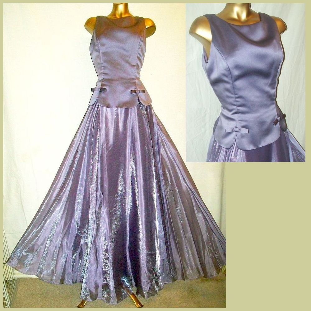 12 Evening Gown Fitted Bodice SWEEPING Dress Sparkle Chiffon Satin Lavender EC