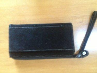 Black suede clutch wallet wristlet