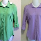 New LIZWEAR Medium 8 10 Small 4 6 100% Pima Cotton Purple or Green Shirt