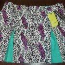 NEW Emerald 18 White Purple Teal Animal Print Walking Golf Skort Skirt 16W 1X