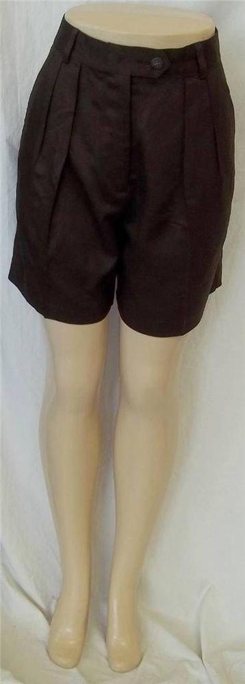 Banana Republic 6 Small Rayon Wool Blend Dark Brown Pleated Front Career Shorts