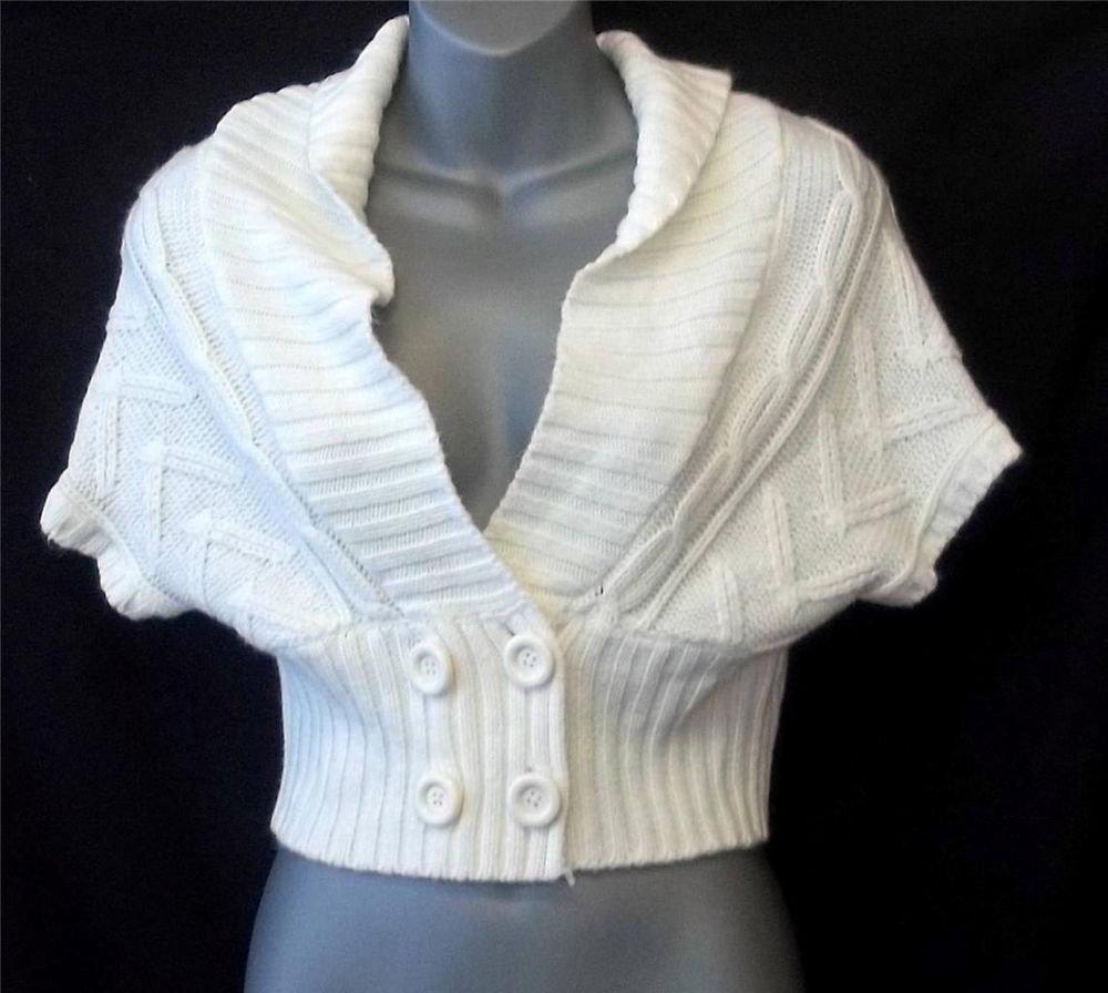 Small 4 6 Derek Heart White Cable Knit Shawl Collar Dolman Sweater Bolero Shrug