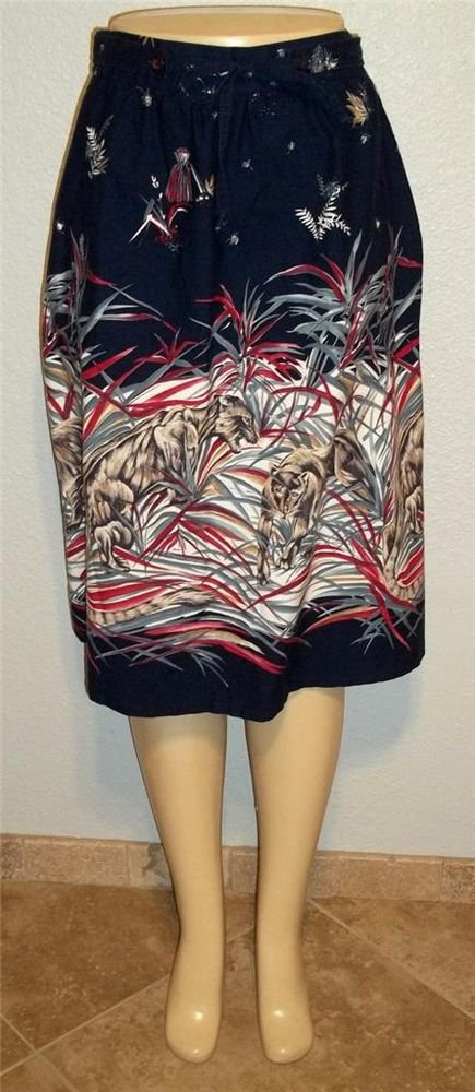 Copley Square Medium 8 10 Vintage '80s Navy Blue Animal Wild Cat Full Skirt