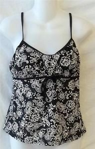 Suit Yourself 12 Large Black White Floral Stretchy Tankini Top Bathing Swimwear