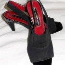 """Bandolino 6 M B Black Sling Back Square Open Toe 3"""" Square Heel Shoes"""