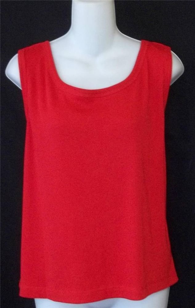 Caroline Colours Plus 24W 3X Fire Engine Red Ribbed Sleeveless Blouse Tank Top