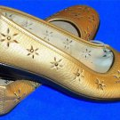 "Sag Harbor 7.5 M B Gold Flower Cut Out Bead Black Sole Ballet Flats 1"" Heel"
