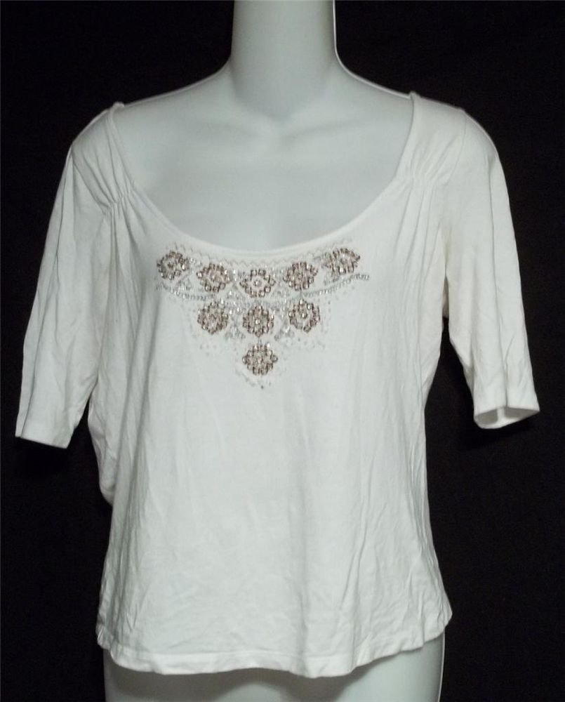i.e. Medium 8 10 White Scoop Neck 1/2 Sleeve Stretchy Top Blouse Beads Sequins