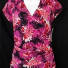 NEW Elle Medium 8 Pink Purple Black Floral Faux Wrap Front Cap Sleeve  Blouse