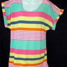 NEW Derek Heart Plus 2X 18W 20W Pink Yellow Orange Green Stripe Tunic Cover Top