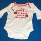 NEW Boy Girl Newborn White Red Christmas What Happens at Grandmas One Piece