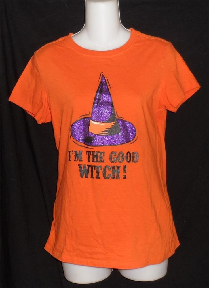 Halloween Small 4 6 Orange Women's I'm the Good Witch Cap Sleeve T-Shirt