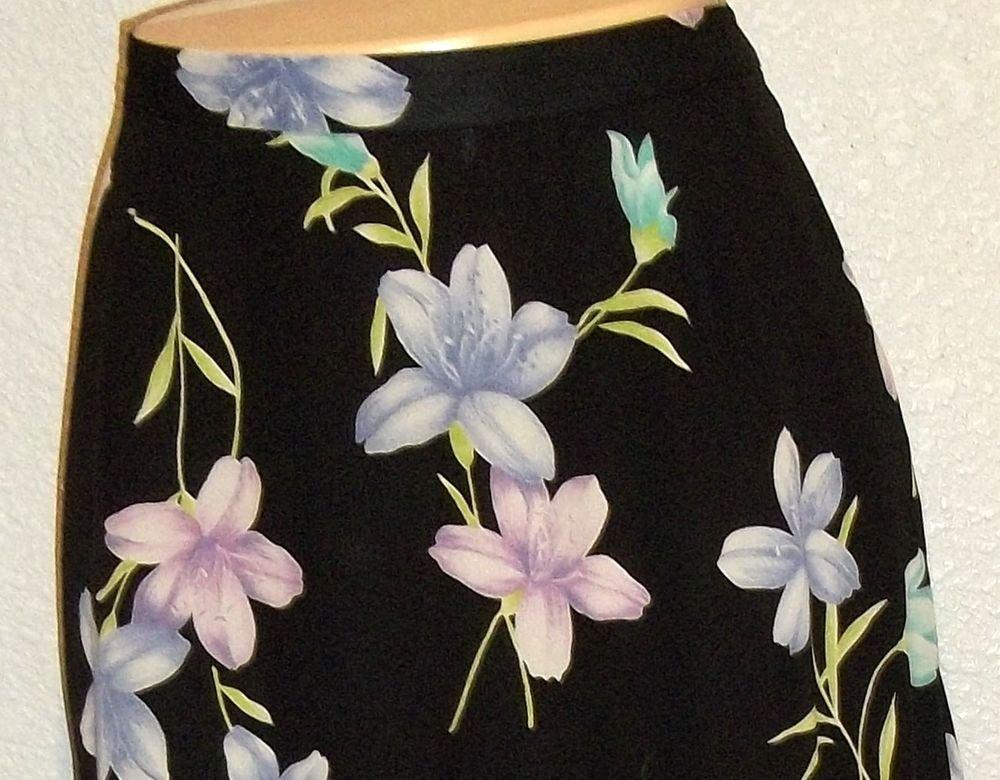 Emma James 10 Medium Career A-Line Black Floral Print Mid Calf Lined Skirt