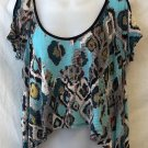 Rue 21 Juniors Medium 7 9 Teal Blue Southwestern Cap Sleeve Loose Midriff Blouse