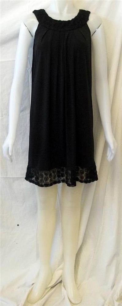 NEW Expo New York 4 Small Black Scoop Neck Knee Length Lace Little Black Dress