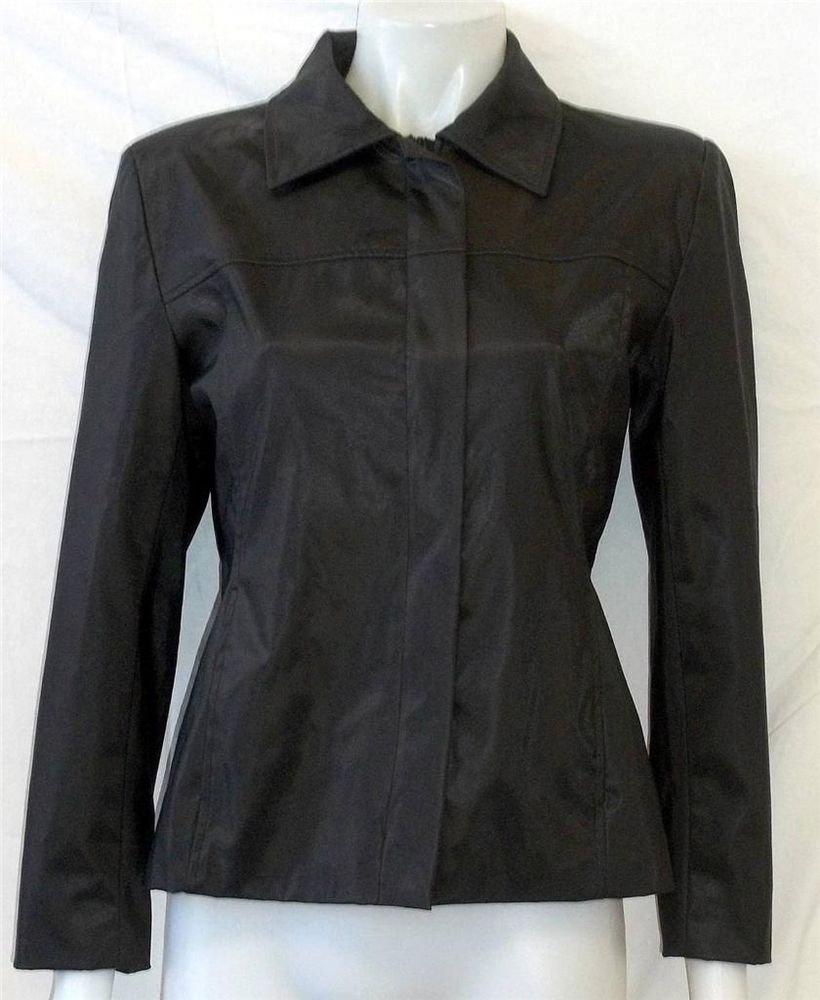 Learsi Medium 8 10 Black Leather Look Fully Lined Winter Jacket Coat Windbreaker