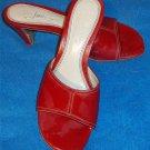 "Fioni 7 Medium B Brick Dark Red Stitched Open Toe Open 3"" Heel Mules Shoes"