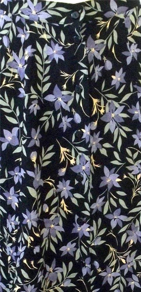 Prophecy Petite by Sag Harbor PM 8P 10P Long Black Floral Button Front Skirt