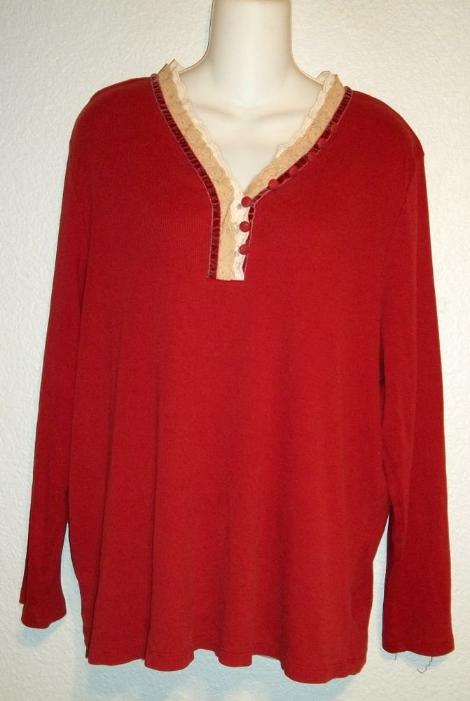Reference Point II Plus 3X 22W 24W Maroon Red Lace Velvet Trim Long Sleeve Top