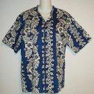 KY's Men's Medium Navy White Hawaiian Floral Short Sleeve Blouse Camp Shirt Top