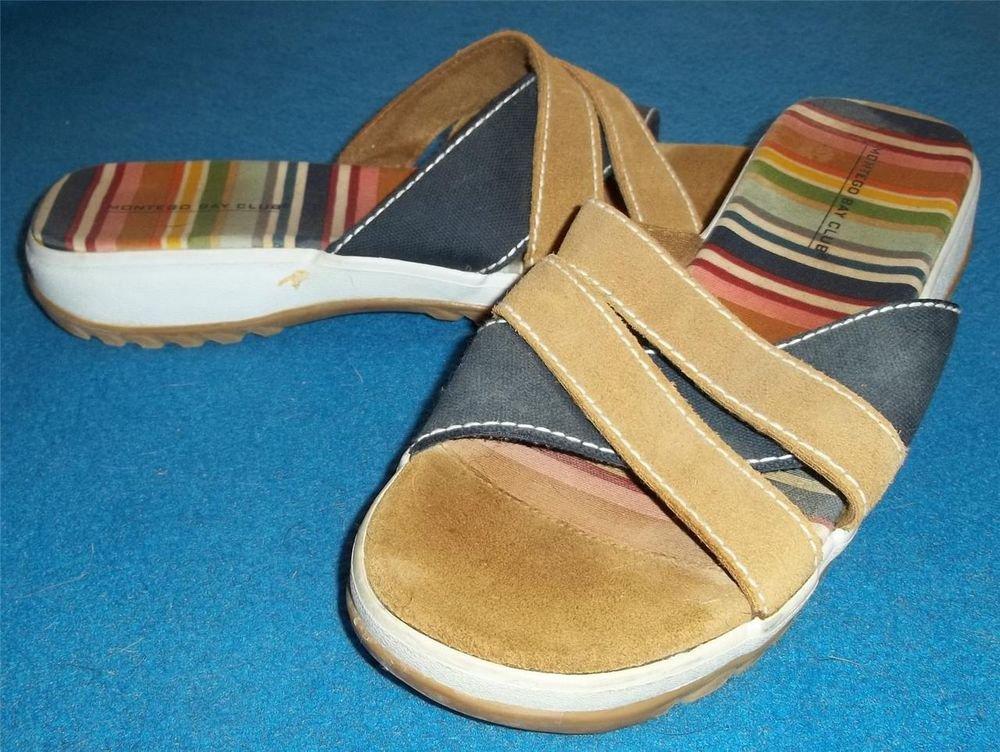 "Montego Bay Club  9 Medium B Striped Canvas Suede Leather Slide Sandal 1"" Heel"