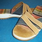 "Montego Bay Club  9 Medium B Striped Canvas Suede Leather Slide Sandal 1"" Heel"