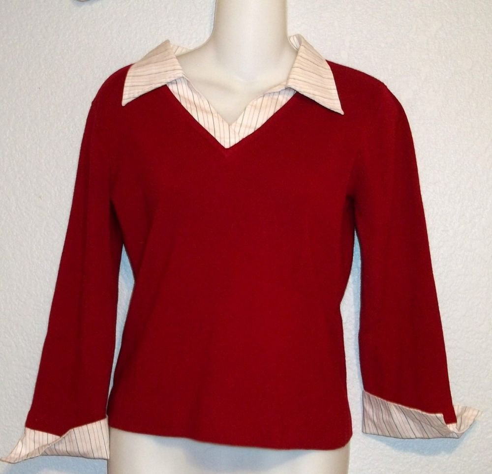Hillard & Hanson Medium 8 10 Red Sweater Faux Striped Shirt Combo Career