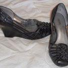 "next  5-1/2 5.5 M B Medium Black Leather Huarache 3"" Wedge Shoes"